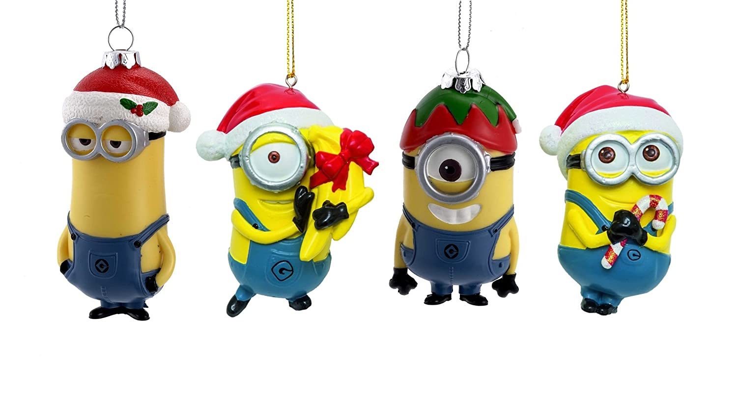 Minions Christmas.Kurt Adler Despicable Me Dave And Carl With Santa Hats Minions Christmas Ornament Set Of 4