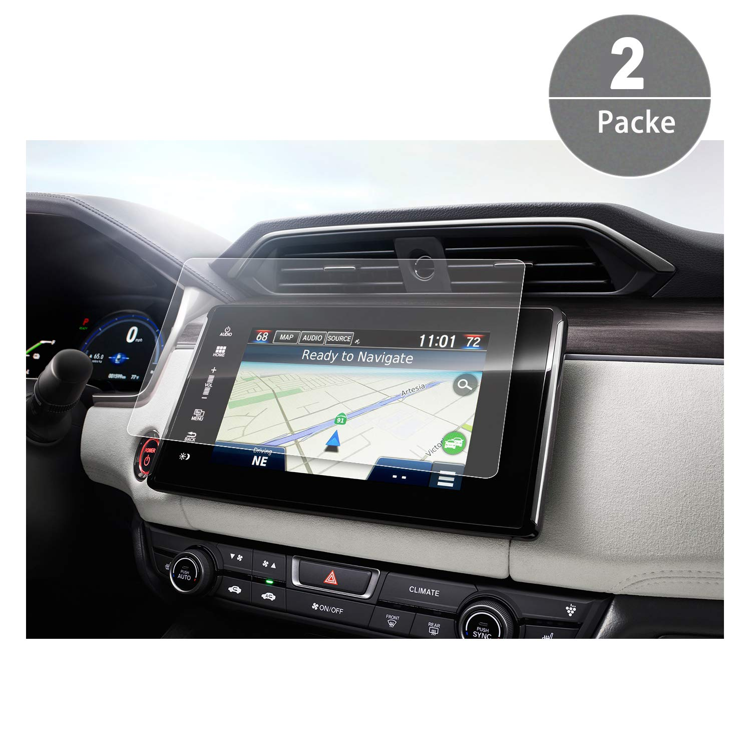 [2 Packs] 2018 Honda Clarity Connect HondaLink 8 Inch Crystal Clear Center Navigation Touch PET Plastic Screen Protector High Clarity Anti-Glare