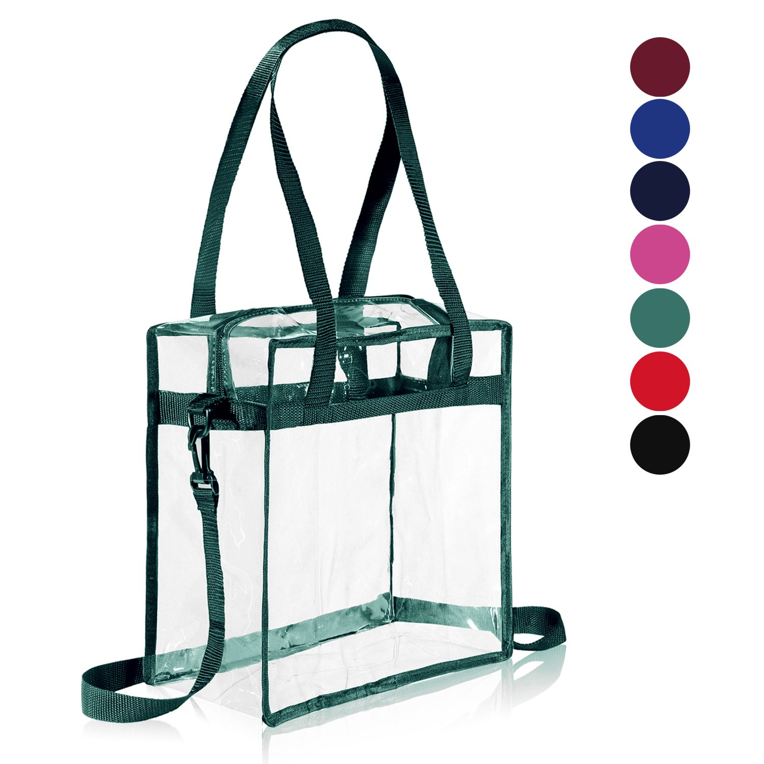 """Clear Bag NFL & PGA Stadium Approved - The Clear Tote Bag with Zipper Closure is Perfect for Work, Sports Games.Cross-Body Messenger Shoulder Bag w Adjustable Strap -12"""" X 12"""" X 6"""" (Green)"""