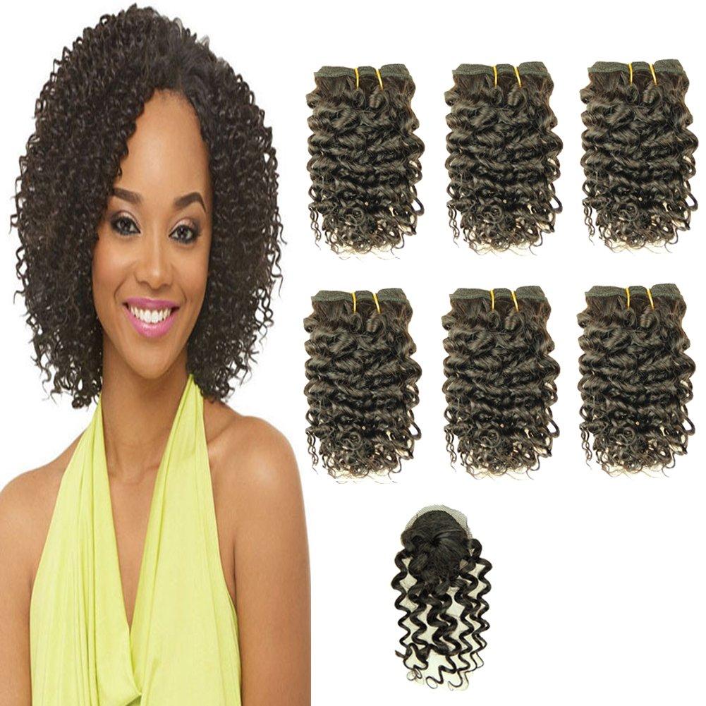 Amazon Com Violet Hair Brazilian Deep Curly Weave Short Human Hair 6pcs Bundles With Closure 100 Human Hair Extensions Short 1b Black Hair Bundles Bob Hair Weave 8 Inch Beauty
