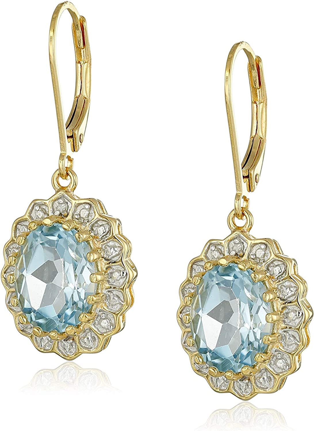 18K Gold Plated Sterling Silver Sky Blue Topaz and Diamond Halo Accent Leverback Dangle Earrings or Ring