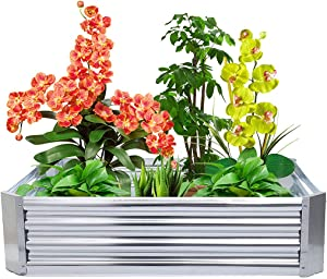 Votono 4x3x1ft Raised Garden Bed Planter Box/Metal Raised Garden Bed Box Vegetable Planter for Vegetables, Flowers, Herbs, and Succulents