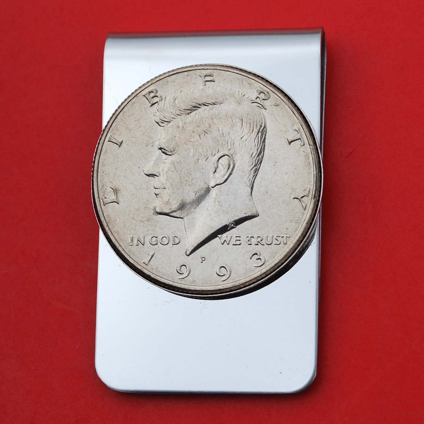 US 1993 Kennedy Half Dollar BU Uncirculated Coin Stainless Steel Money Clip NEW - Silver Plated Coin Bezel