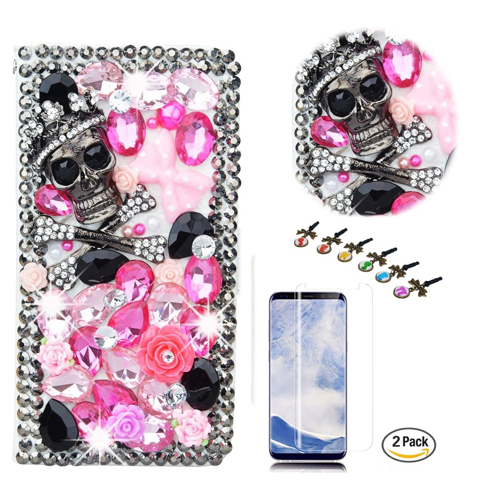 STENES iPhone 8 Plus Case, iPhone 7 Plus Case - Stylish - 3D Handmade Bling Crystal Skull Rose Flowers Design Wallet Credit Card Slots Fold Media Stand Leather Cover with Screen Protector - Pink