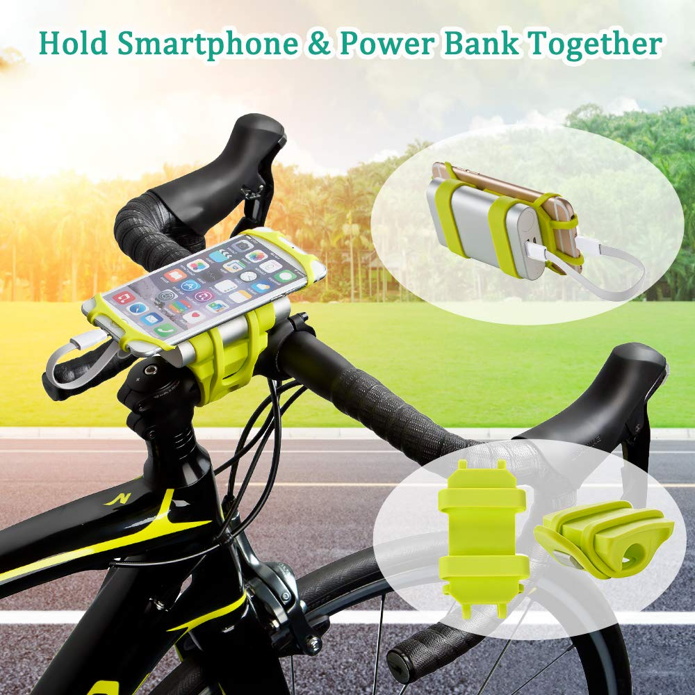 Bike Motorcycle Phone Mount ANCwear 5-in-1 Portable Charger and Phone Holder Adjustable Silicon Universal Fit Handlebars and Smart Phones Like iPhone Xs Max R X 8 Plus 7 Samsung