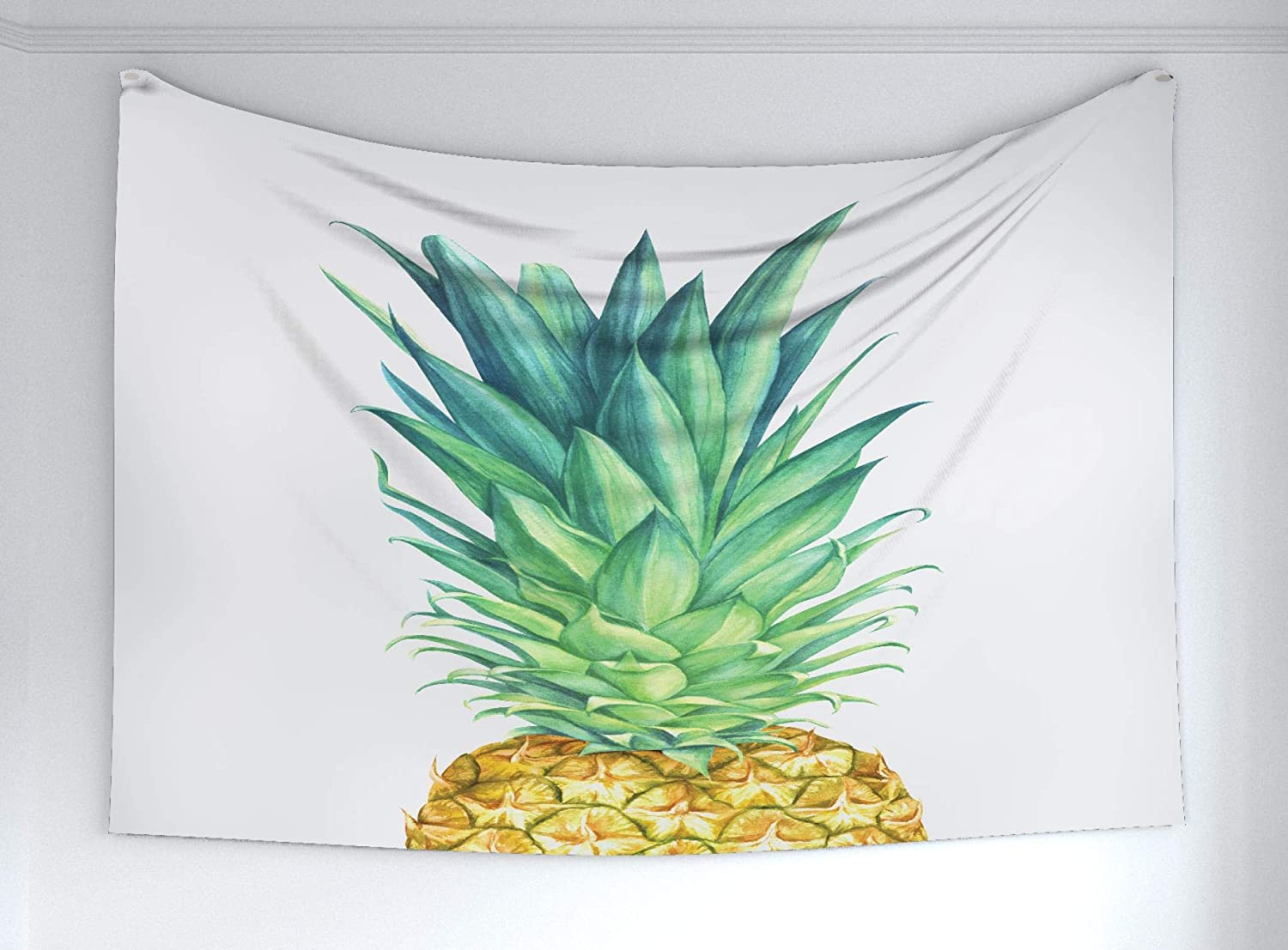 Ambesonne Pineapple Tapestry, Flora Hawaii Themed Fresh Summer Fruit American Exotic Food Vegan, Fabric Wall Hanging Decor Bedroom Living Room Dorm, 60 W X 40 L Inches, Green