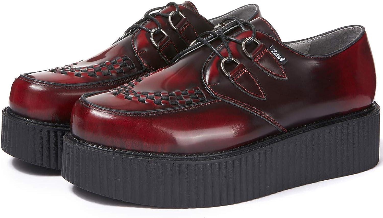 RoseG Homme Cuir Lacets Plateforme Gothique Punk Creeper Chaussures Oxfords Baskets Basses
