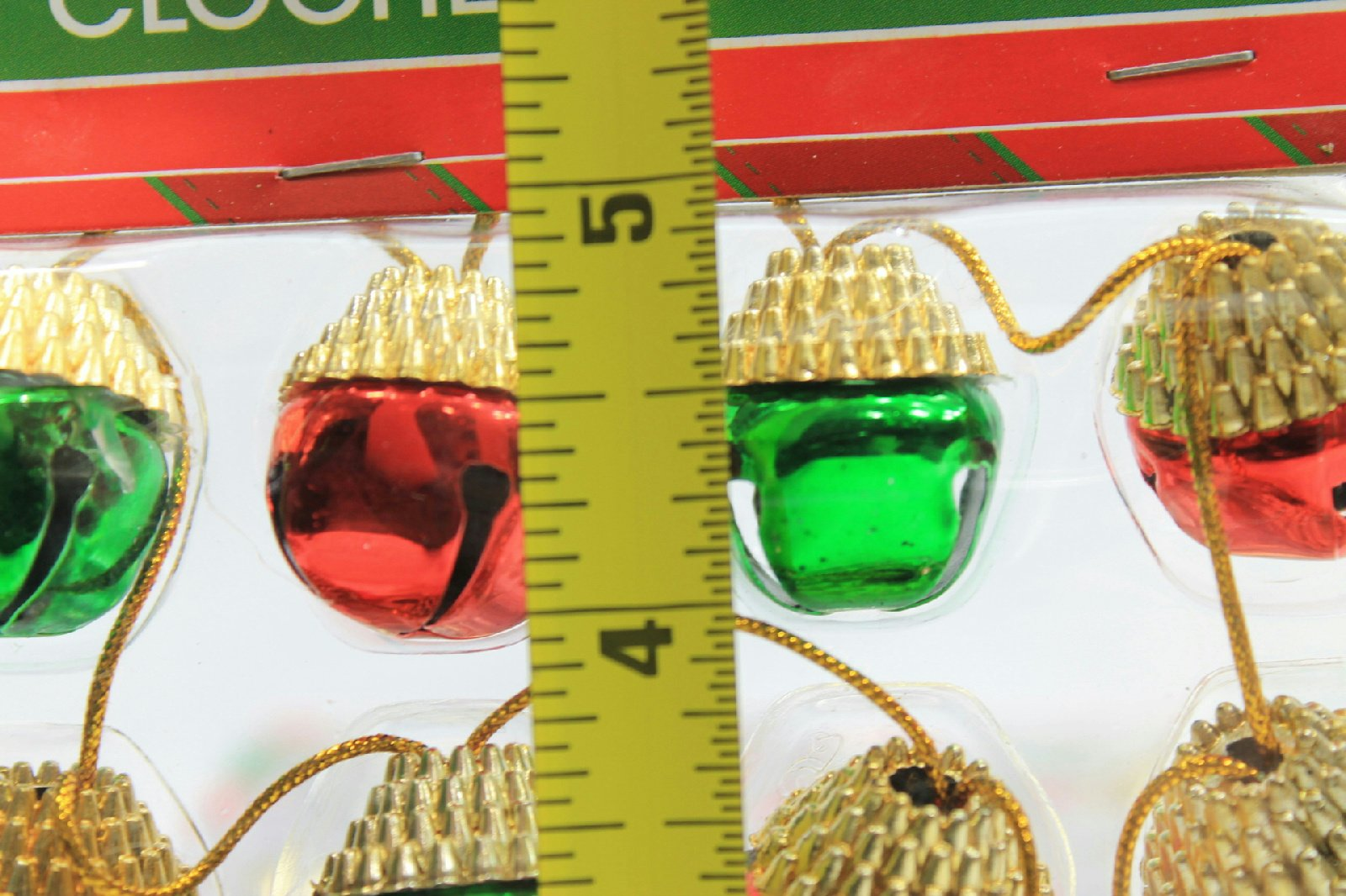 (Pack of 2) 16 Christmas House Ornament Acorn Shaped Decorative Jingle Bells (Red & Green)