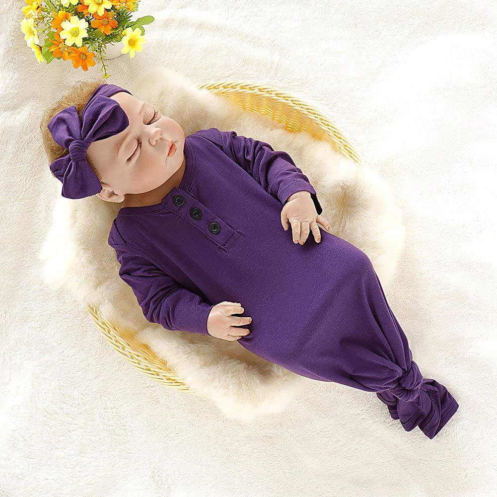Jeinxcn Newborn Baby Cotton Sleeper Gown Striped Nightgown Sleepwear Knotted Sleeping Bag with Headband