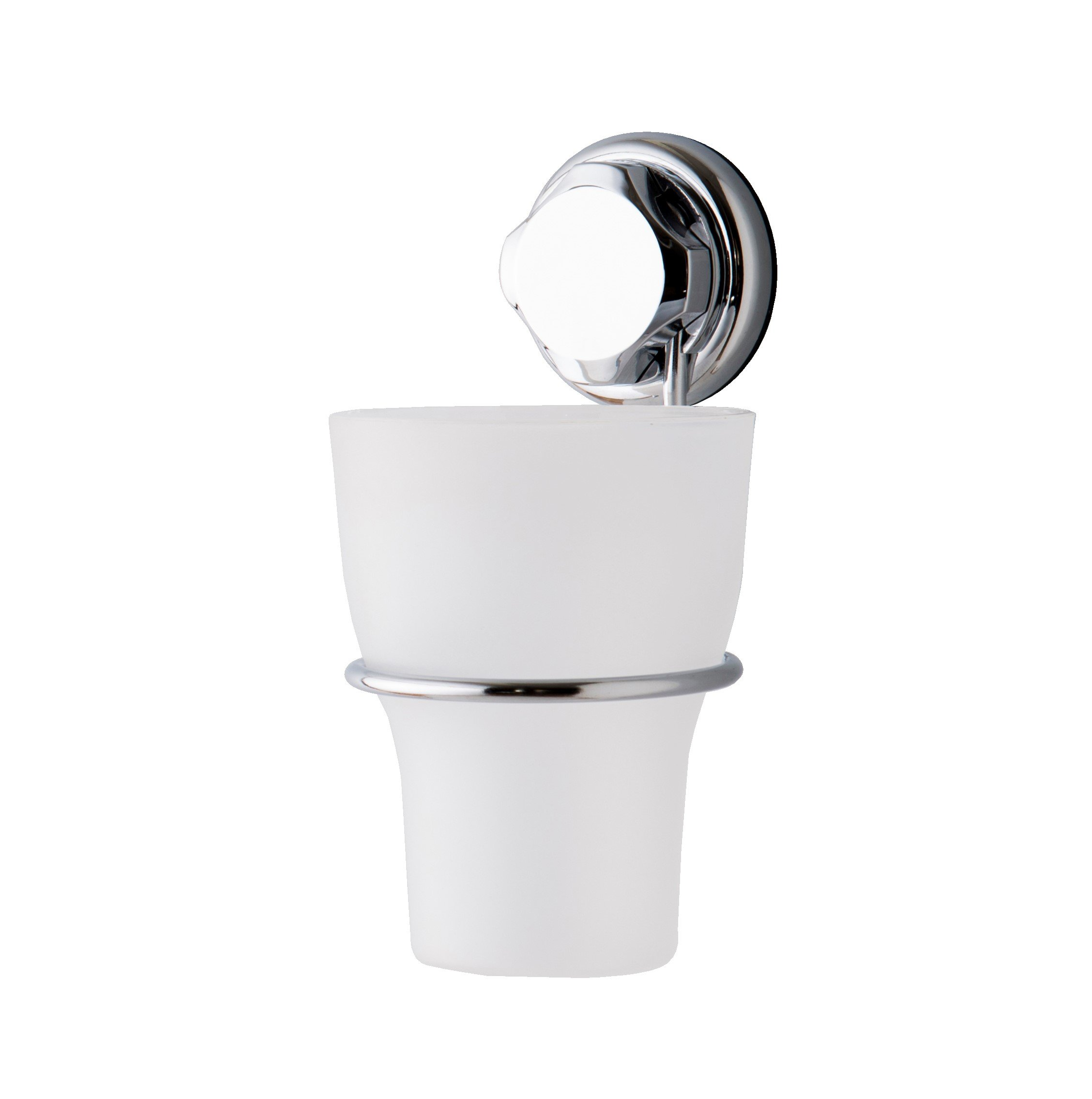 Compactor Bestlock Suction No Drilling Wall Mountable Toothbrush Holder with Cup, Chrome and White
