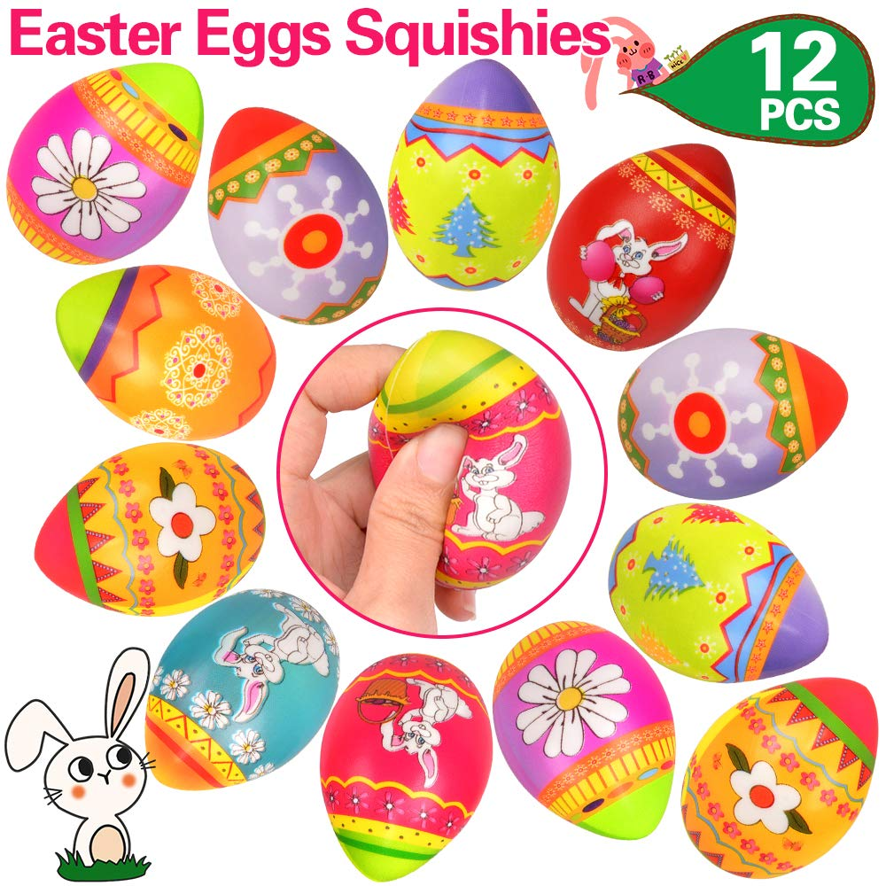 OCATO Random 12 PCS Easter Eggs Squishies Easter Basket Stuffers for Kids Easter Egg Fillers Colorful Surprise Eggs Slow Rising Squishies Soft Squeeze Easter Toys Gifts Party Favors for Kids & Adults