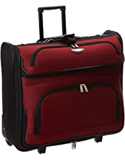 Amsterdam Rolling Garment Bag Wheeled Luggage Case - Red (23-Inch)