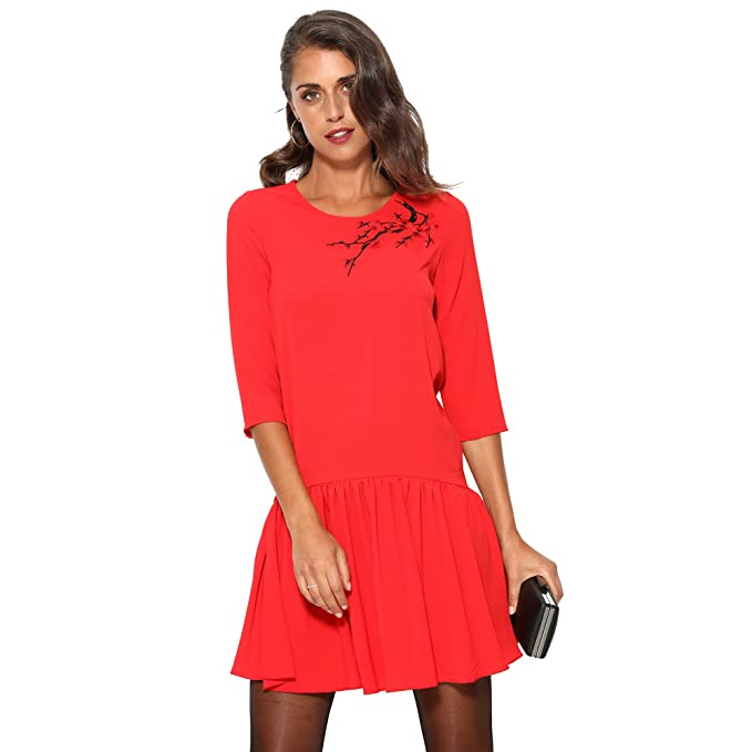 VENCA Vestido con Femenino Detalle Bordado by Vencastyle,Rojo,36