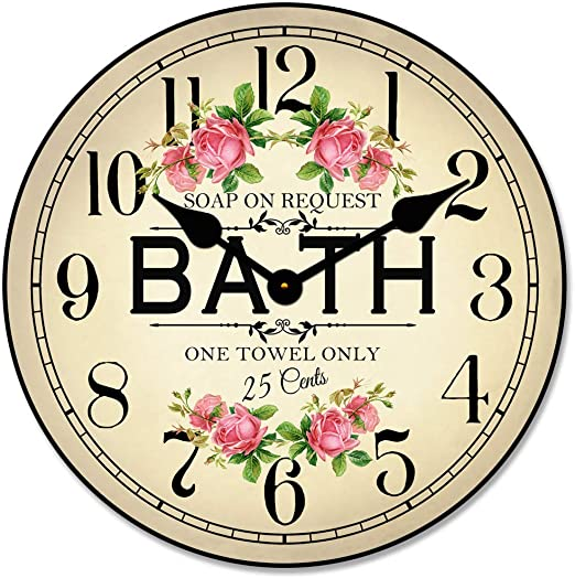 Antique Bath Sign Wall Clock, Available in 8 Sizes, Most Sizes Ship 2-3 Days, Whisper Quiet.