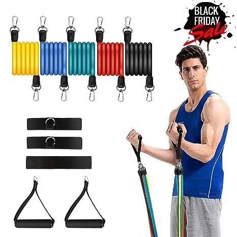 Set de bandas de resistencia para ejercicios 11PC Workout Fitness Bandas de tubo de estiramiento con 5 correas de fitness Anclaje de puerta, manijas, ...