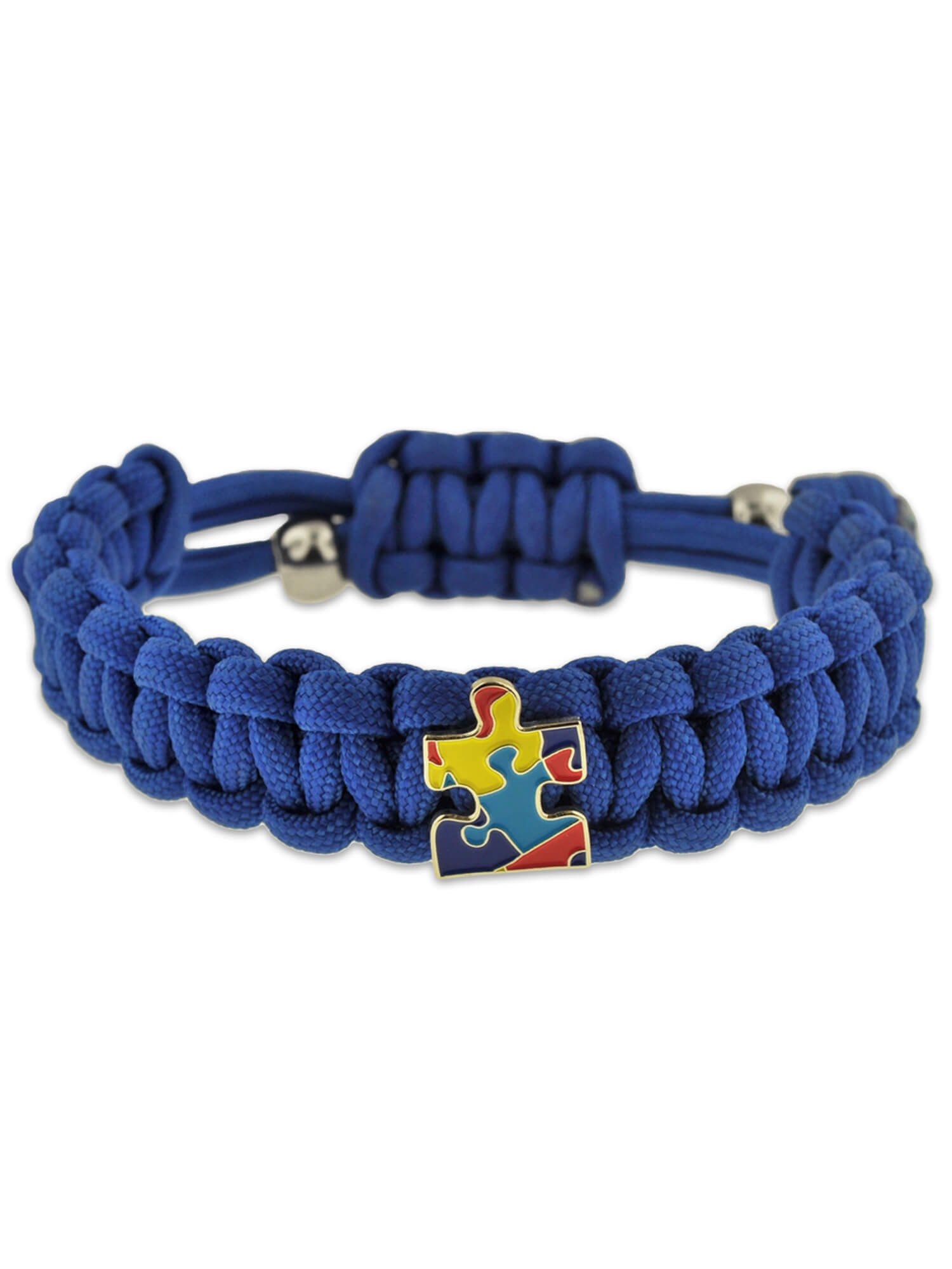 Autism Awareness Paracord Adjustable Survival Bracelet with Puzzle Piece Charm