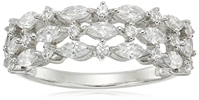 da004348748c0 Platinum Plated Sterling Silver Swarovski Zirconia 3-Row Marquise Ring,  Size 8