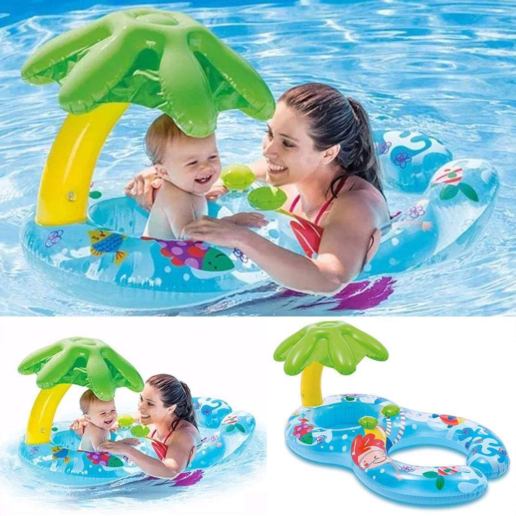 Yirind Mother and Baby Cute Cartoon Print Inflatable Swimming Float with Shade Throw Rings,Double Person Swimming Ring Toy for Kids (1-3 Years) by Yirind