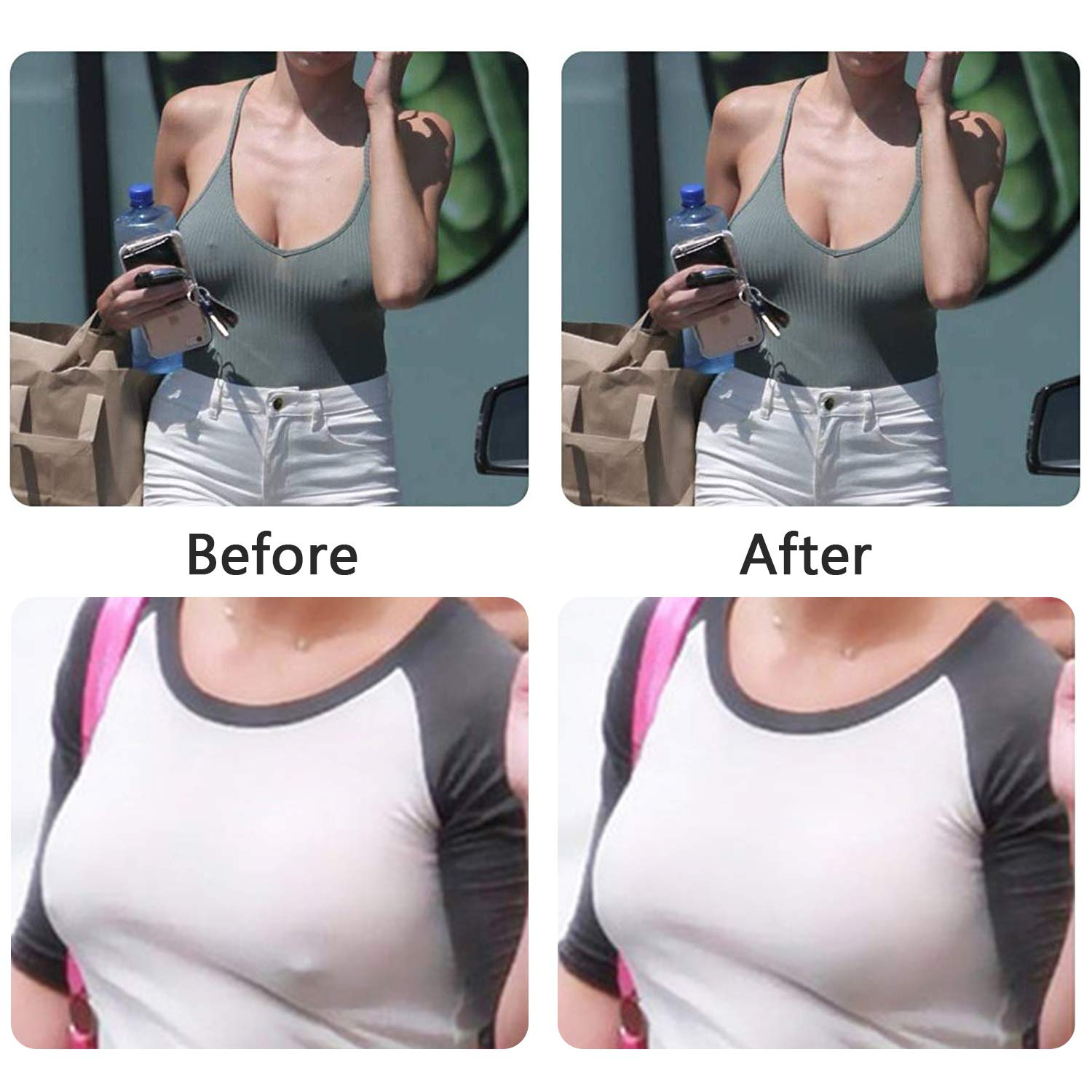 Breast Lift Tape,Adhesive Bra Reusable Push Up Nippleless Covers with Cotton Cover Nude