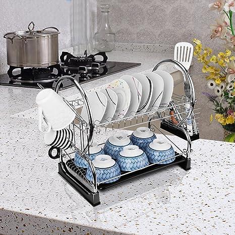 2 Tier Dish Rack And DrainBoard 17u0026quot; X15 X10u0026quot; Kitchen Chrome Cup  Dish