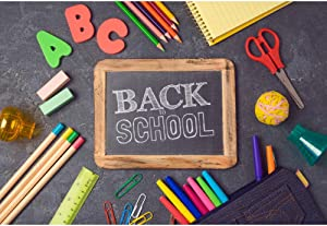 Haoyiyi 8x6ft Back to School Photography Background Colorful Chalk Drawing Paintings Blackboard Wall Backdrop Teacher Online Class Classroom Children Kids Student Homecoming Party Photo Studio Props