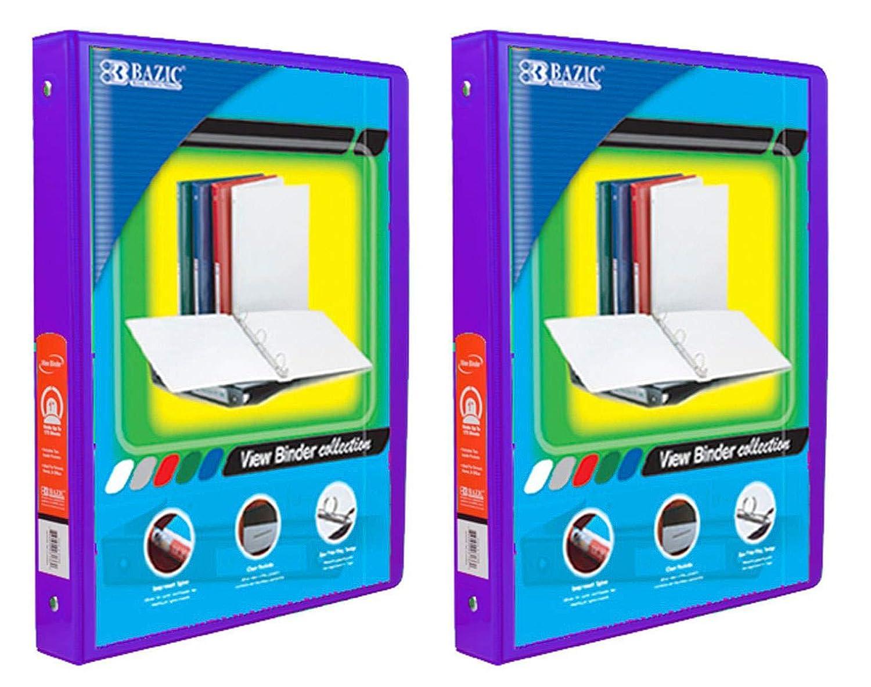BAZIC 1//2 Purple 3-Ring View Binder w// 2-Pockets