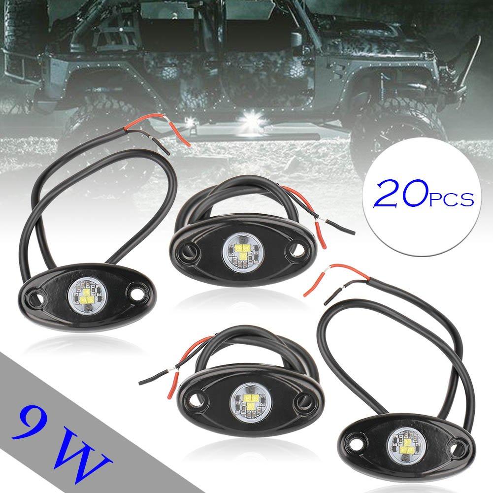 GZYF 自動車 LED ロックライト アンダーライト テールランプ 個性的な 多機能 カーledイルミネーション LEDシャーシ 装飾照明 防水 高輝度 ホワイト 20個入り B07CKHJLKS  10