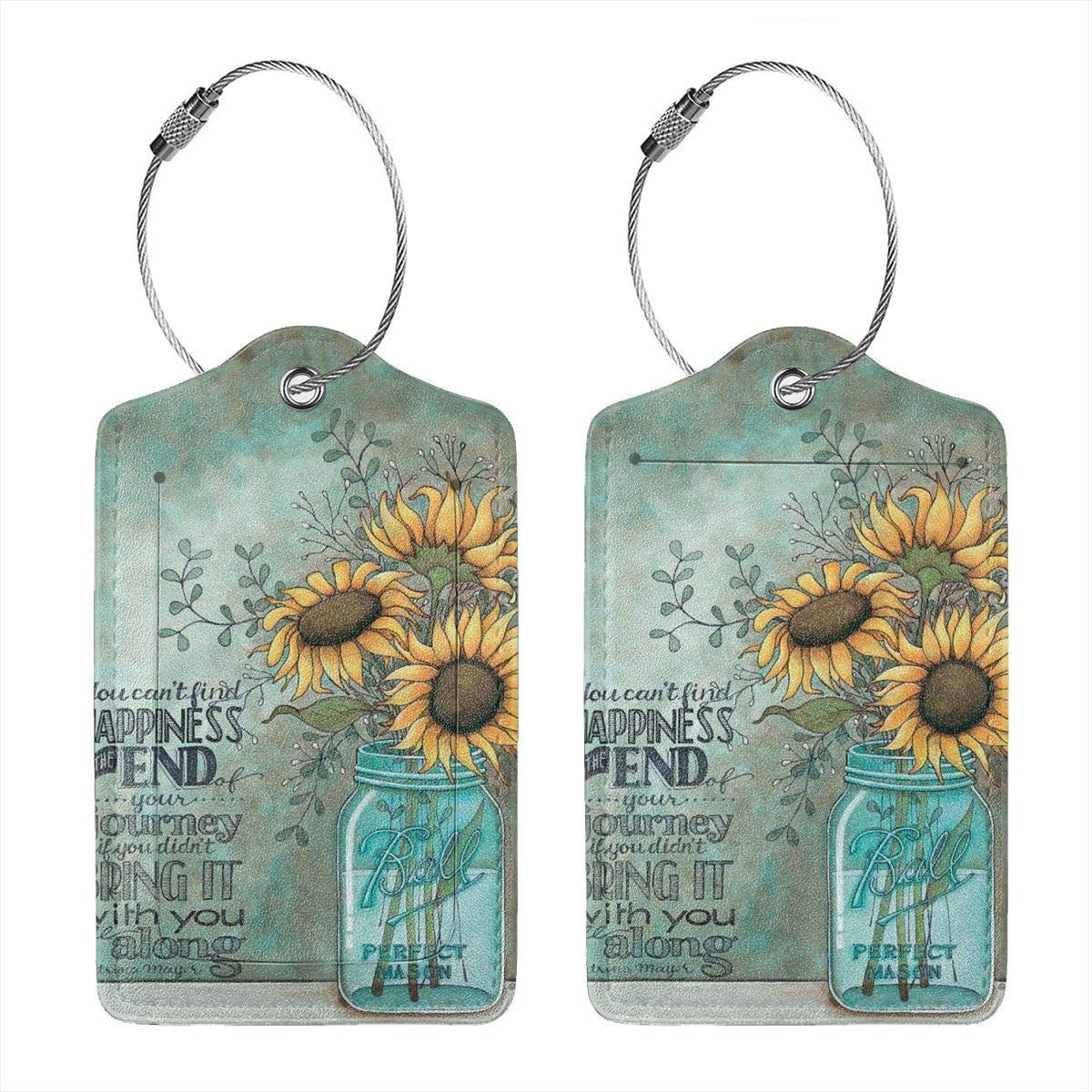 Sunflower In Bottle Luggage Tag Label Travel Bag Label With Privacy Cover Luggage Tag Leather Personalized Suitcase Tag Travel Accessories