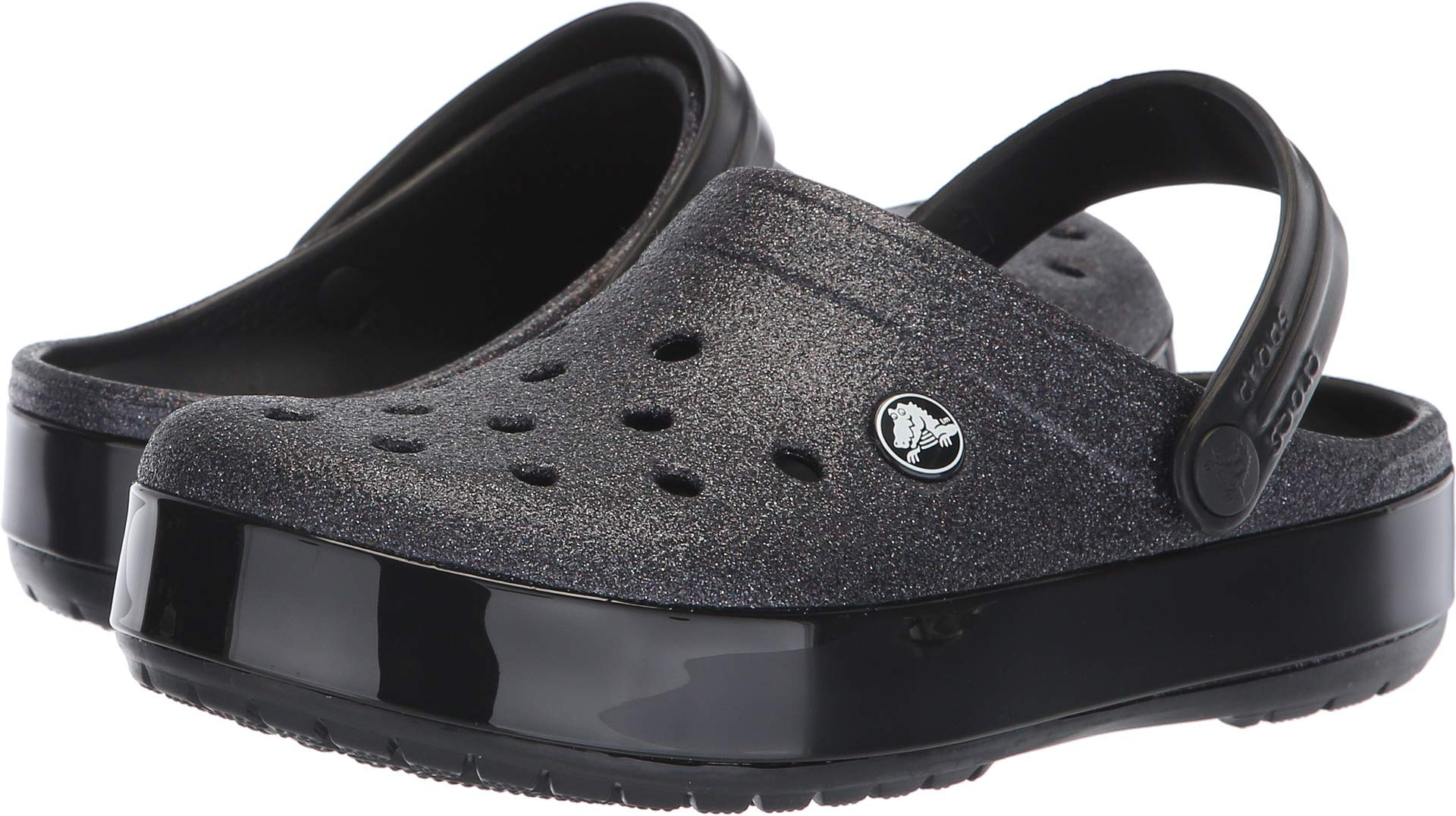 Crocs Crocband Glitter Clog, Black, 7 US Men / 9 US Women