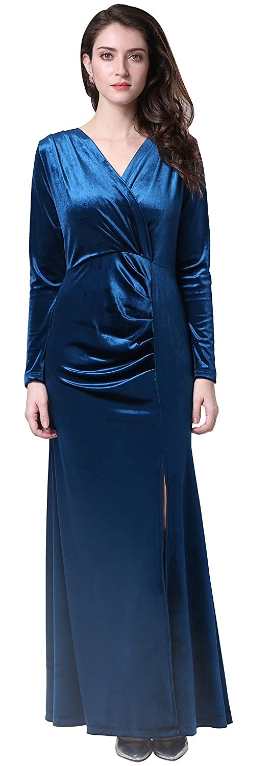 Ababalaya Womens 90s Retro Velvet Long Bodycon Side Slit Formal Evening Gown