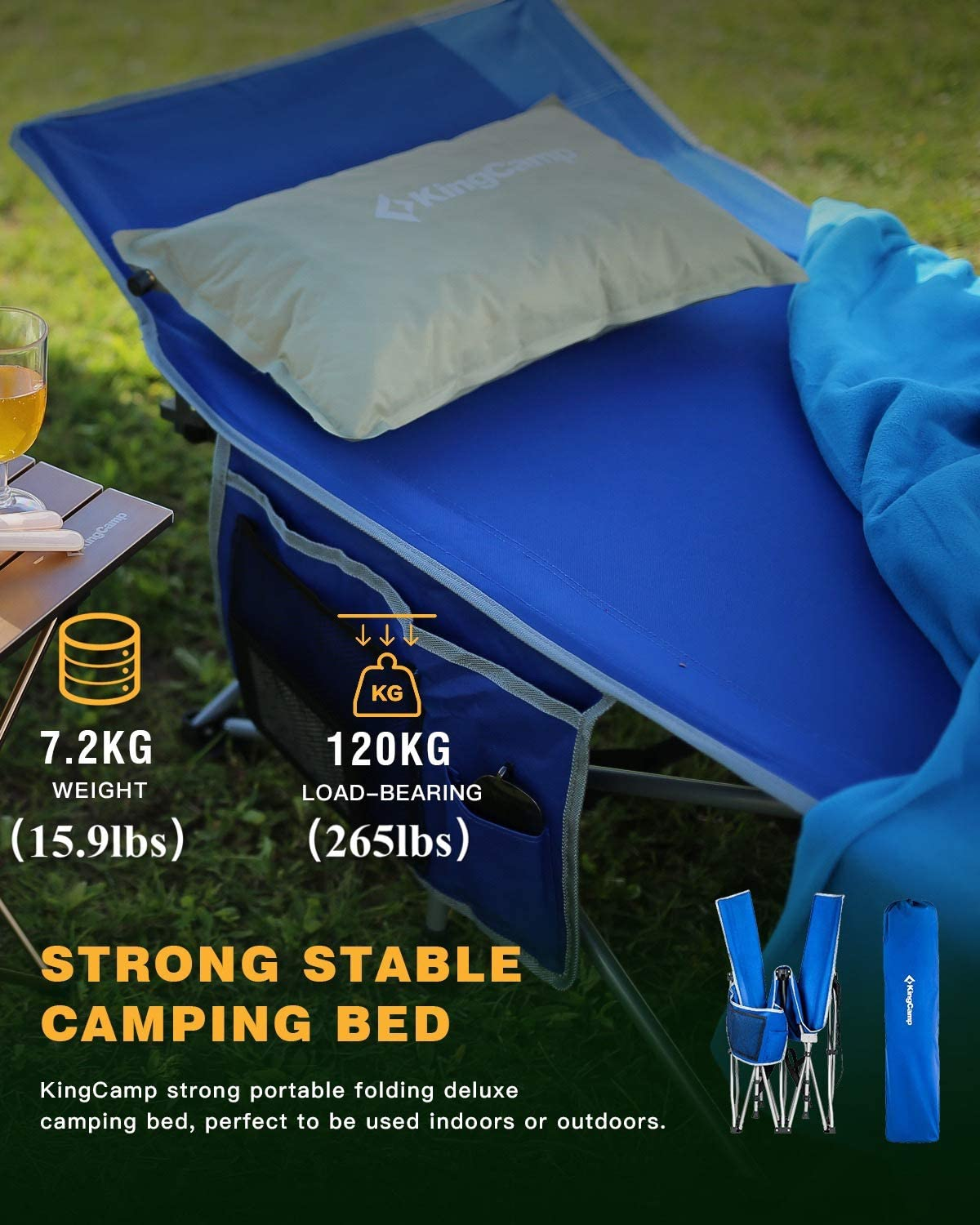 KingCamp Camping Cot with 3-in-1 Pockets for Adults Lightweight Portable Strong Stable Deluxe Folding Single Person Bed for Indoor /& Outdoor Use