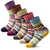 Women Winter Socks Warm Wool Thick Vintage Pattern Girls Cotton Socks Gift Box
