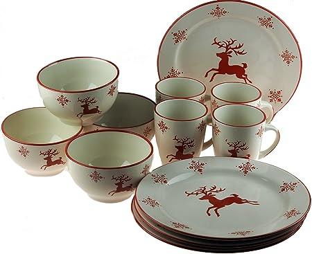 Complete 12 Piece Ceramic Christmas Crockery Table Set - Red Reindeer  sc 1 st  Amazon UK & Complete 12 Piece Ceramic Christmas Crockery Table Set - Red ...