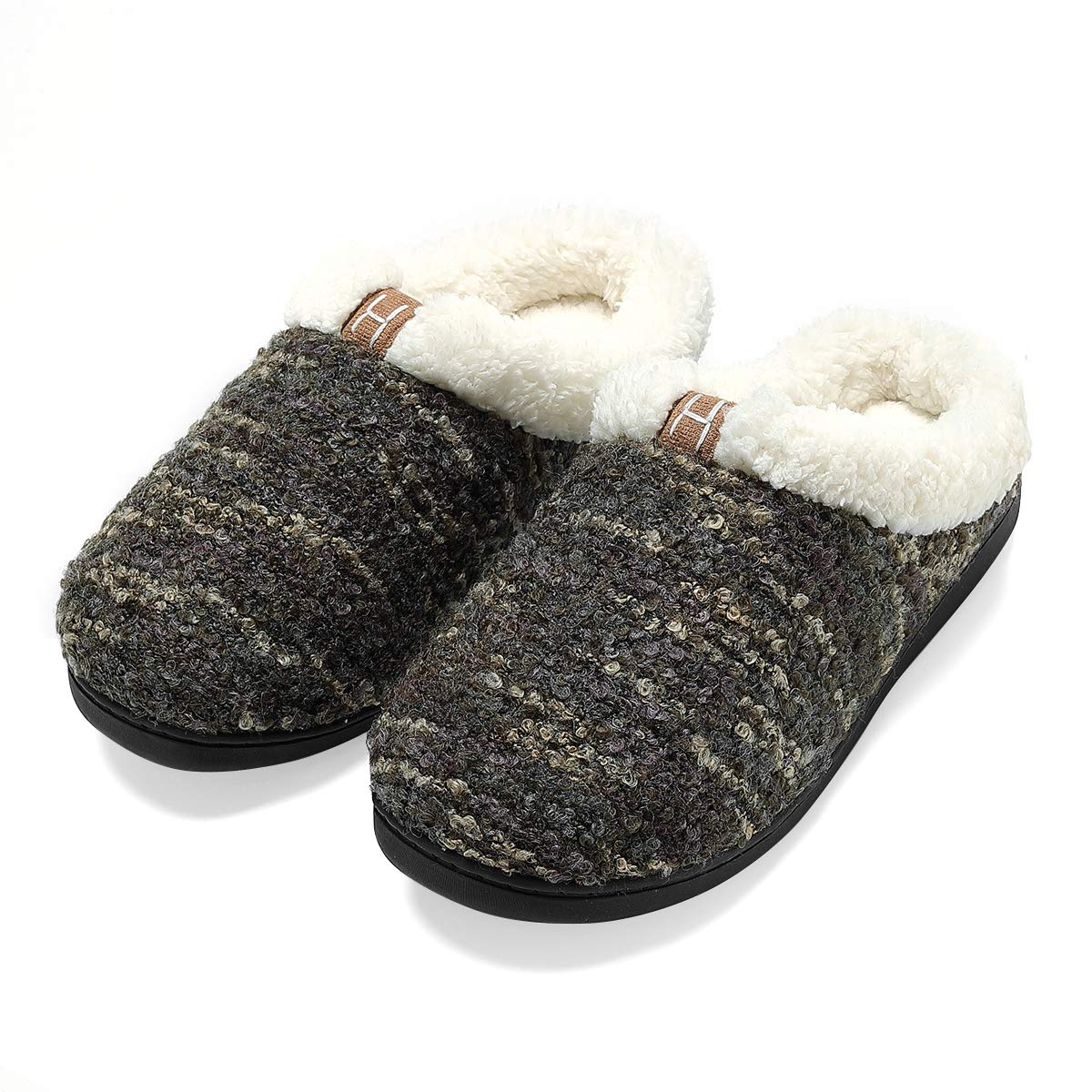 Men's Memory Foam House Slippers Wool-Like Plush Fleece Indoor/Outdoor Shoes CAMJL07033 men
