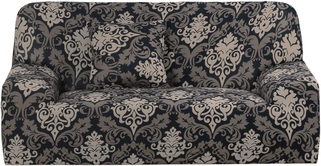 uxcell Stretch Sofa Cover Chair Loveseat Couch Slipcover, Machine Washable, Baroque Style Furniture with One Cushion Case Large