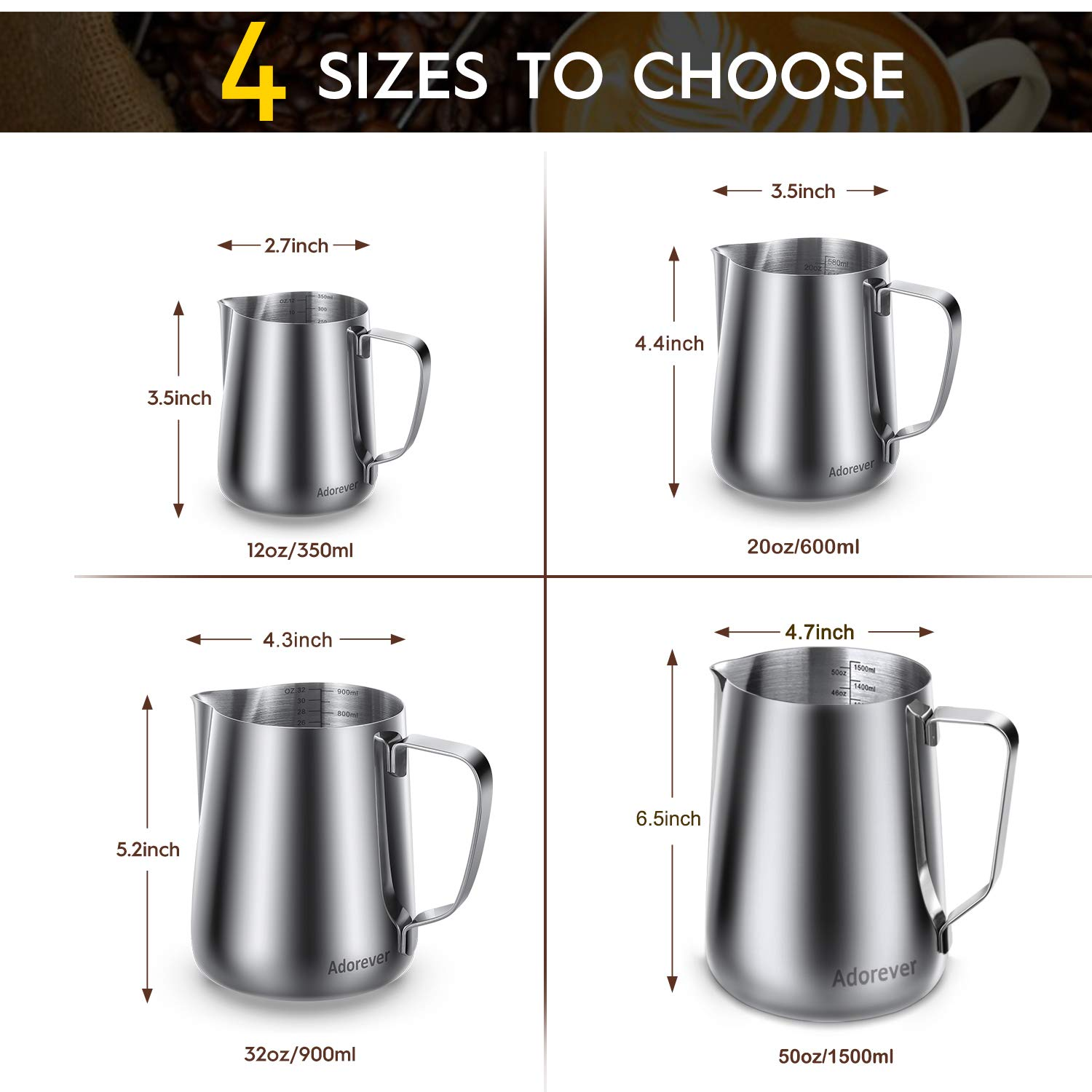 Milk Frothing Pitcher 600ml/350ml/900ml (20oz/12oz/32oz) Steaming Pitchers Stainless Steel Milk/Coffee/Cappuccino/Latte Art Barista Steam Pitchers Milk Jug Cup with Decorating Art Pen, Latte Arts by Adorever (Image #2)