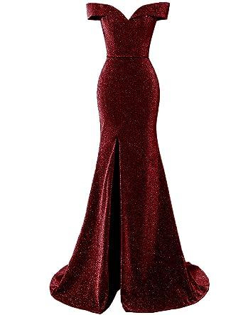 0d62b214924 Women s 2019 Off Shoulder Prom Dress Side Split Glittery Mermaid Evening  Bridesmaid Dress Burgundy