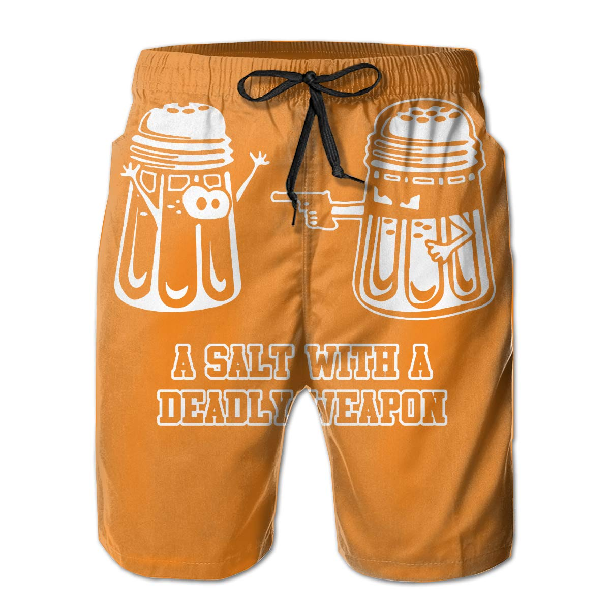 WWT A Salt with A Deadly Weapon Mens Printed Beach Shorts with Mesh Lining//Side Pockets