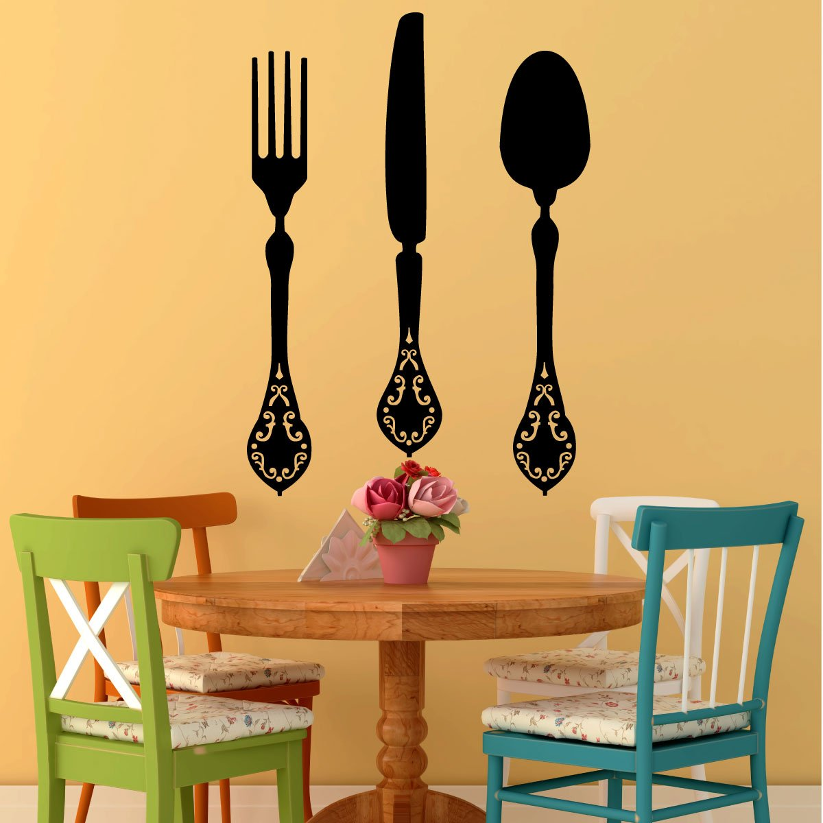 Amazon.com: Fork, Knife and Spoon Elegant Vinyl Designs - Kitchen or ...