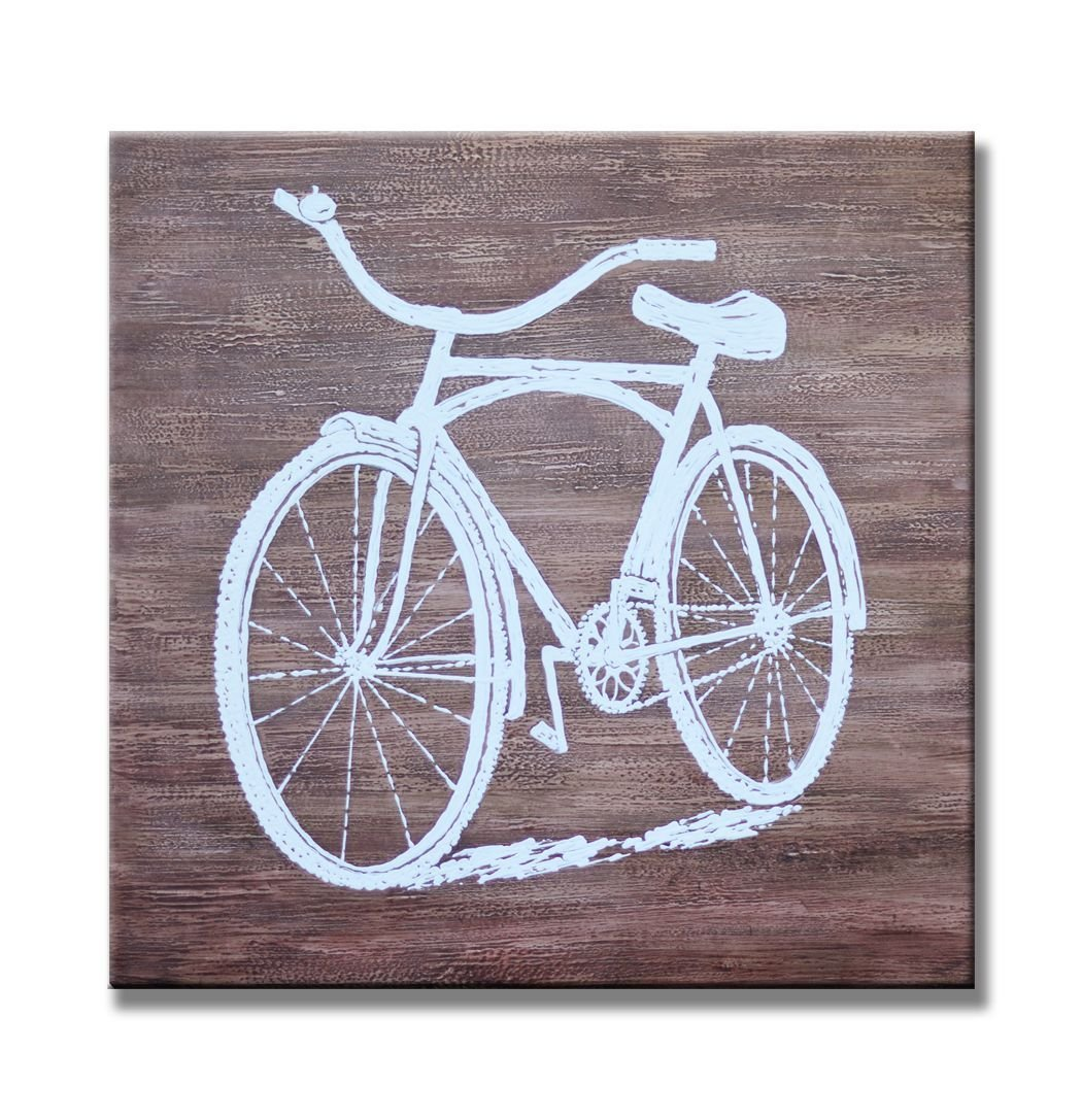 Sunflower Art Wide Bike on Wooden Texture Sill Life Paintings 100% Handpainted Canvas Oil Paintings Wood Stretched Home Decor Ready To Hang 24x24'' (60x60cm)