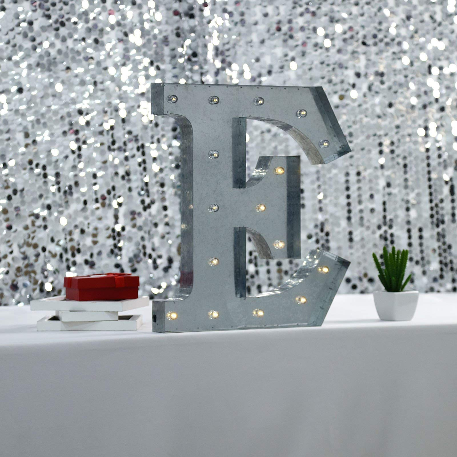 Tableclothsfactory 2 FT | Vintage Metal Marquee Letter Lights Cordless with 16 Warm White LED - E by Tableclothsfactory
