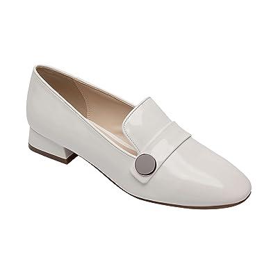 PIC/PAY Milan - Women's Low Heel Retro Chrome Accent Comfortable Vegan Slip-On Loafer White Vegan Patent 9M | Loafers & Slip-Ons