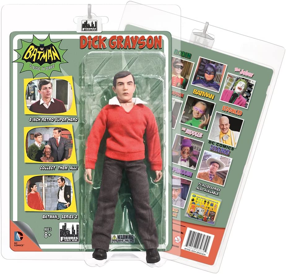 DC Retro Mego Style Batman TV Series Dick Grayson Undercover Jacket Figure