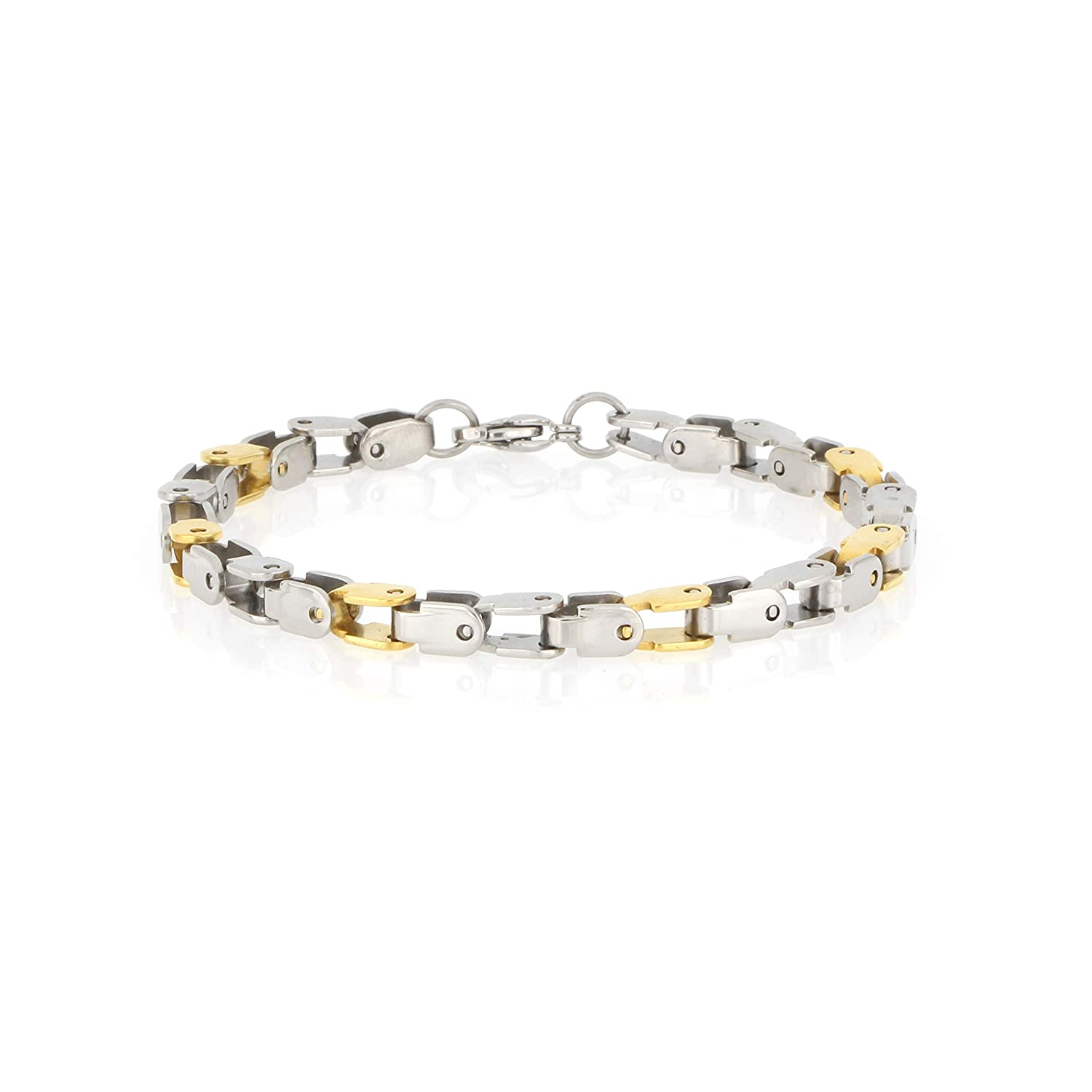 Arrow Jewelry Stainless Steel Two-Color Gold-Tone IP-Plated Fancy Box Chain Bracelet Polished Finish 8.25