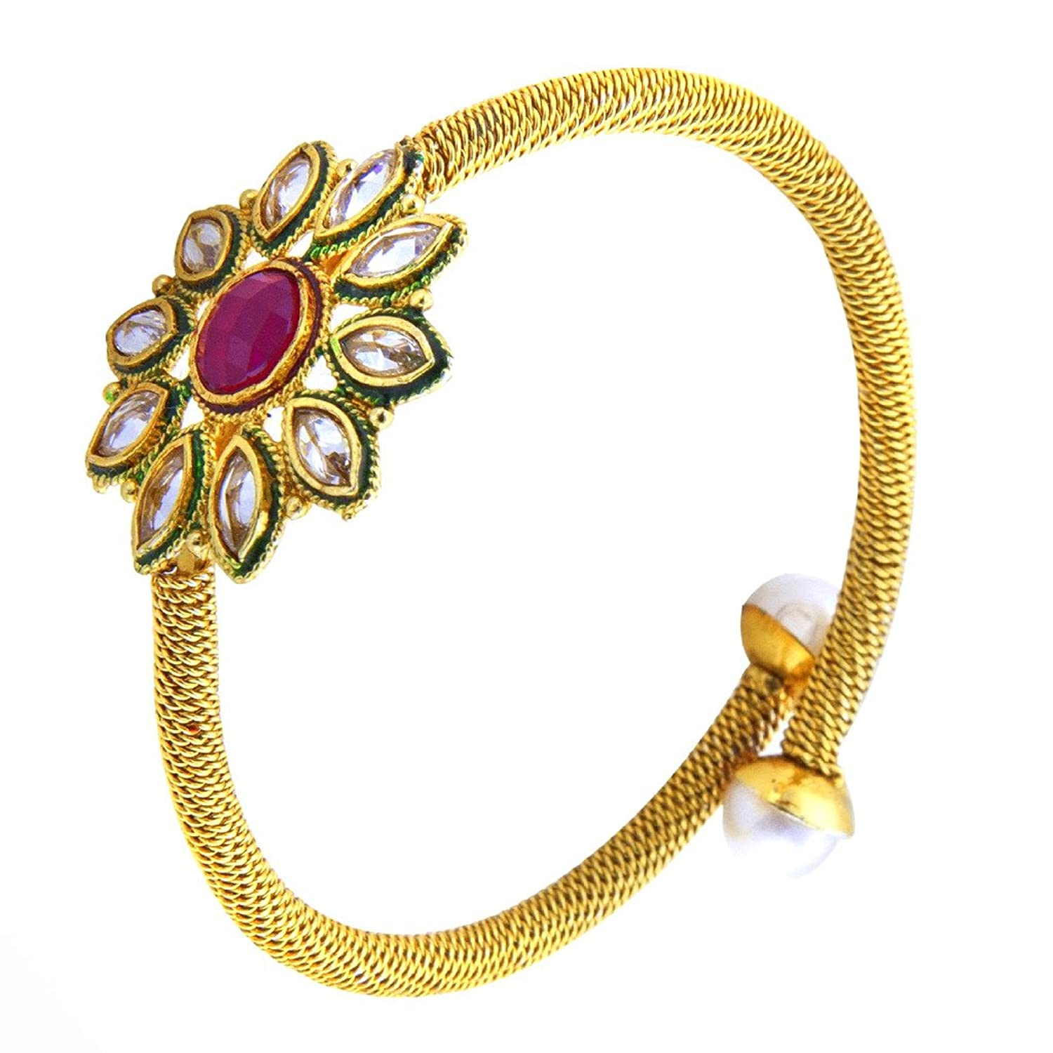 fashion studded amazon prices at bracelet crystal bangle brands jewellery plated youbella girls low women buy and bangles for online store dp india gold in