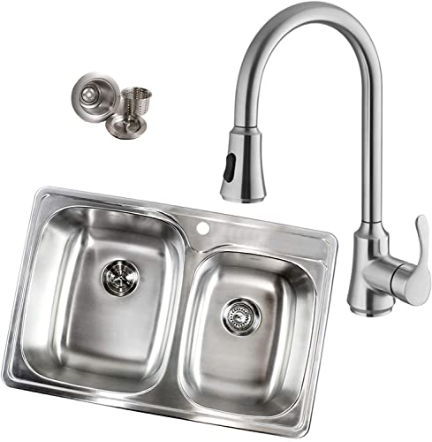 Topmount Drop-In 18-Gauge Stainless Steel 33-1 8 in. x 22 in. x 9 in. 60 40 Offset Double Bowl Kitchen Sink and Single Handle Pull Out Nozzle Kitchen Faucet Combo 1 Faucet Hole