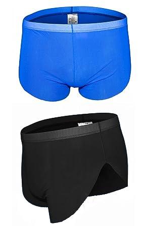c5497fac2a1e sandbank Men's 4 Pack Briefs Ice Silk Transparent Mesh Underwear Sheer Sexy  Bikini Boxer Shorts Panties