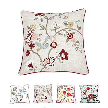 Amazon Hahadidi Embroidered Polyester Linen Flower Country New Country Throw Pillows Decorative