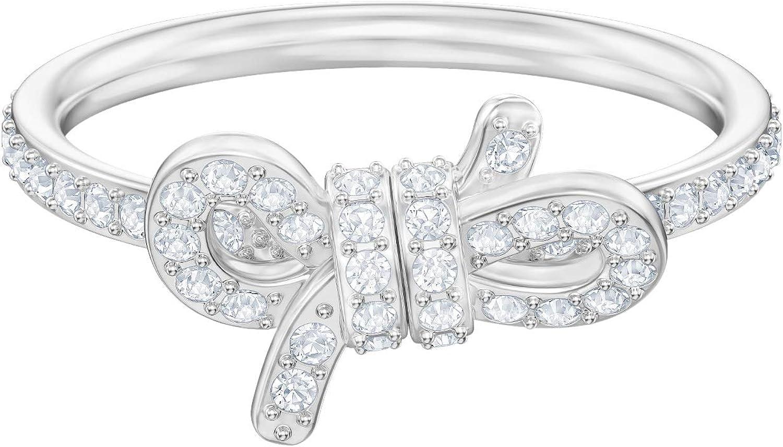 Swarovski Anillo Lifelong Bow, pequeño, baño de rodio, Cristal Blanco, para Mujer