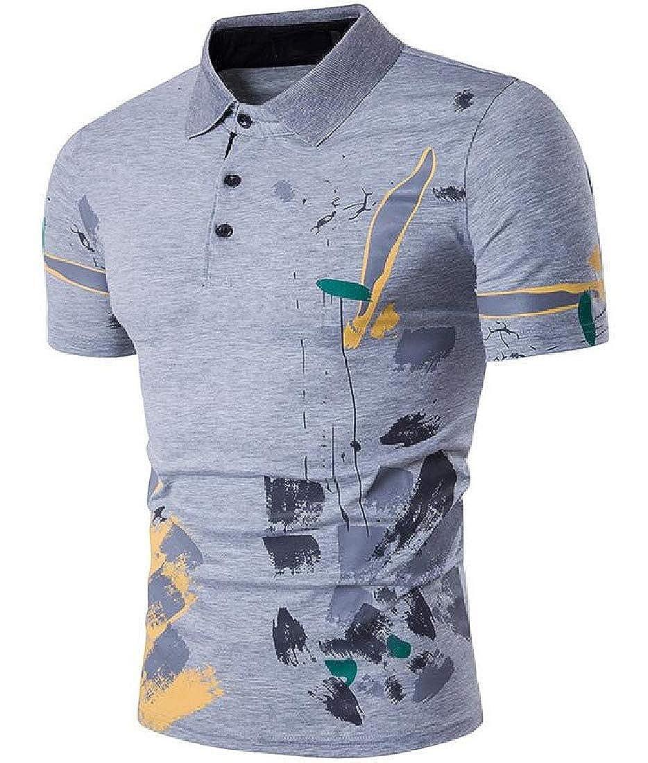 Rrive Men Buttons Short Sleeve Summer Print Business Lapel Polo Shirts